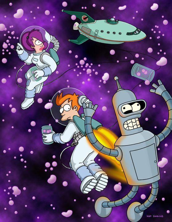 (6. Staffel) - Mit seinen neuen Freunden Leela (l.) und Roboter Bender (r.) erkundet Fry (M.) den Weltraum. - Bildquelle: und TM Twenthieth Century Fox Film Corporation - Alle Rechte vorbehalten