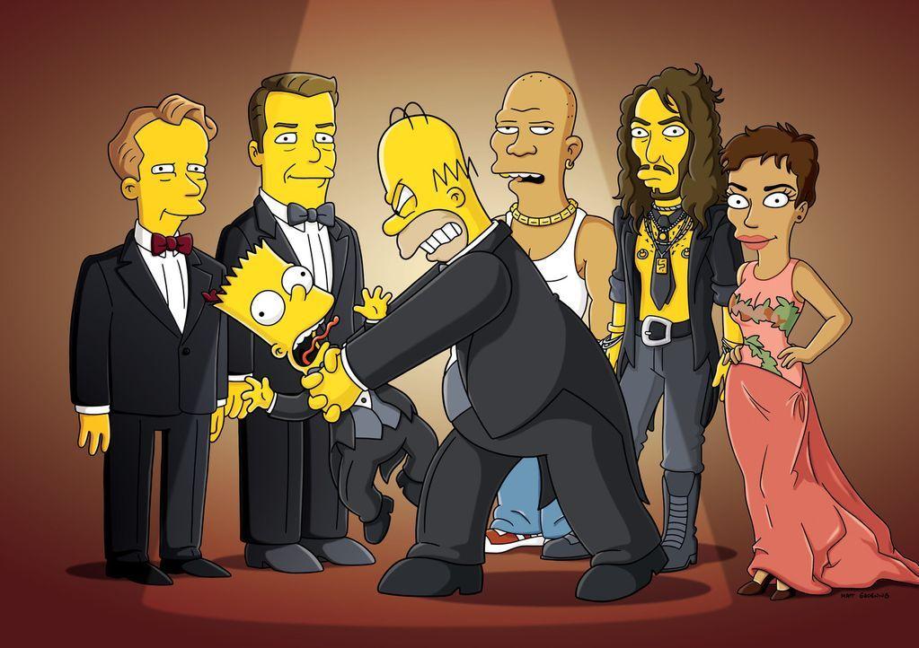 Wütender Dad - Der Film: Nick Park (l.), Ricky Gervis (2.v.l.), JB Smoove (M.), Russell Brand (2.v.r.), Halle Berry (r.), Bart (vorne l.) und Homer... - Bildquelle: und TM Twentieth Century Fox Film Corporation - Alle Rechte vorbehalten
