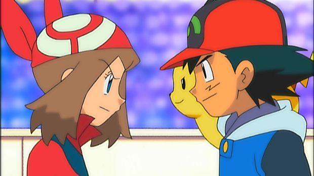 Nachdem Ash (r.) in der Kampfpyramide gewonnen hat, erreicht er mit seinen Fr...