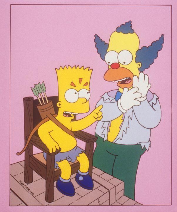 Bart (l.) beschwert sich bei Krusty (r.) über die schlechte Behandlung im Ferienlager. - Bildquelle: und TM Twenthieth Century Fox Film Corporation - Alle Rechte vorbehalten
