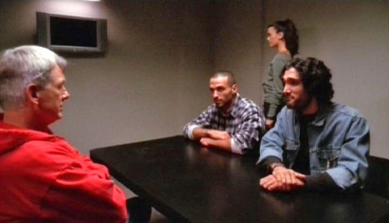 Special Agent Gibbs (Mark Harmon, l.) und Agentin David (Cote de Pablo, 2.v.r.) befragen zwei Verdächtige. - Bildquelle: CBS Television