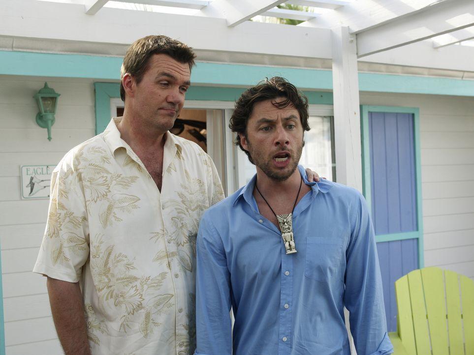 Während die Hochzeit vom Hausmeister (Neil Flynn, l.) bevorsteht, stellt sich bei J.D. (Zach Braff, r.) keine romantische Stimmung ein, da er für El... - Bildquelle: Touchstone Television