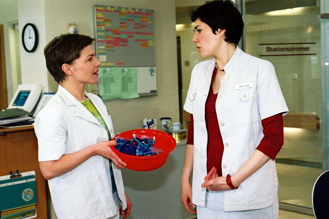Kaum hat Stephanie (Claudia Schmutzler, l.) das Amt der Stationsschwester übernommen, gibt es den ersten Zoff mit Sarah (Katrin Ritt, r.) ... - Bildquelle: Monika Schürle Sat.1