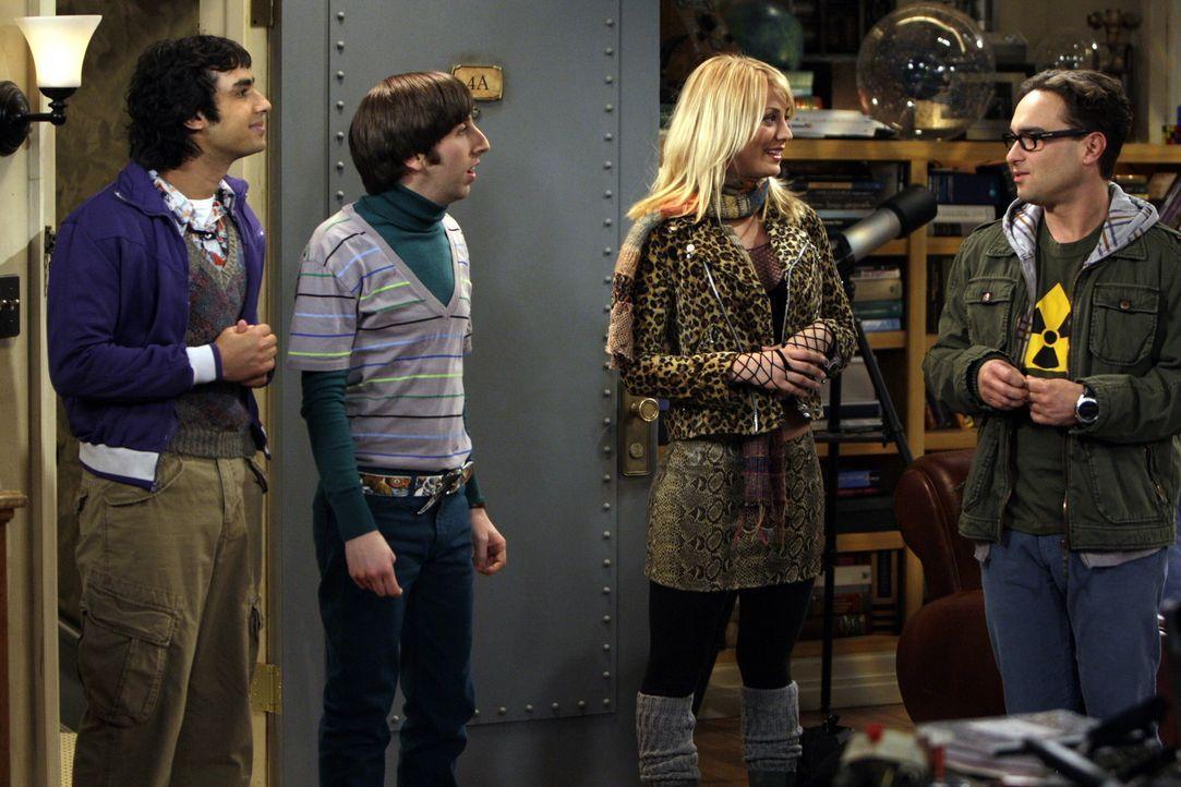 Lügen haben kurze Beine: Leonard (Johnny Galecki, r.) und Sheldon hoffen, dass sich Rajesh (Kunal Nayyar, l.) und Howard (Simon Helberg, 2.v.l.) ge... - Bildquelle: Warner Bros. Television
