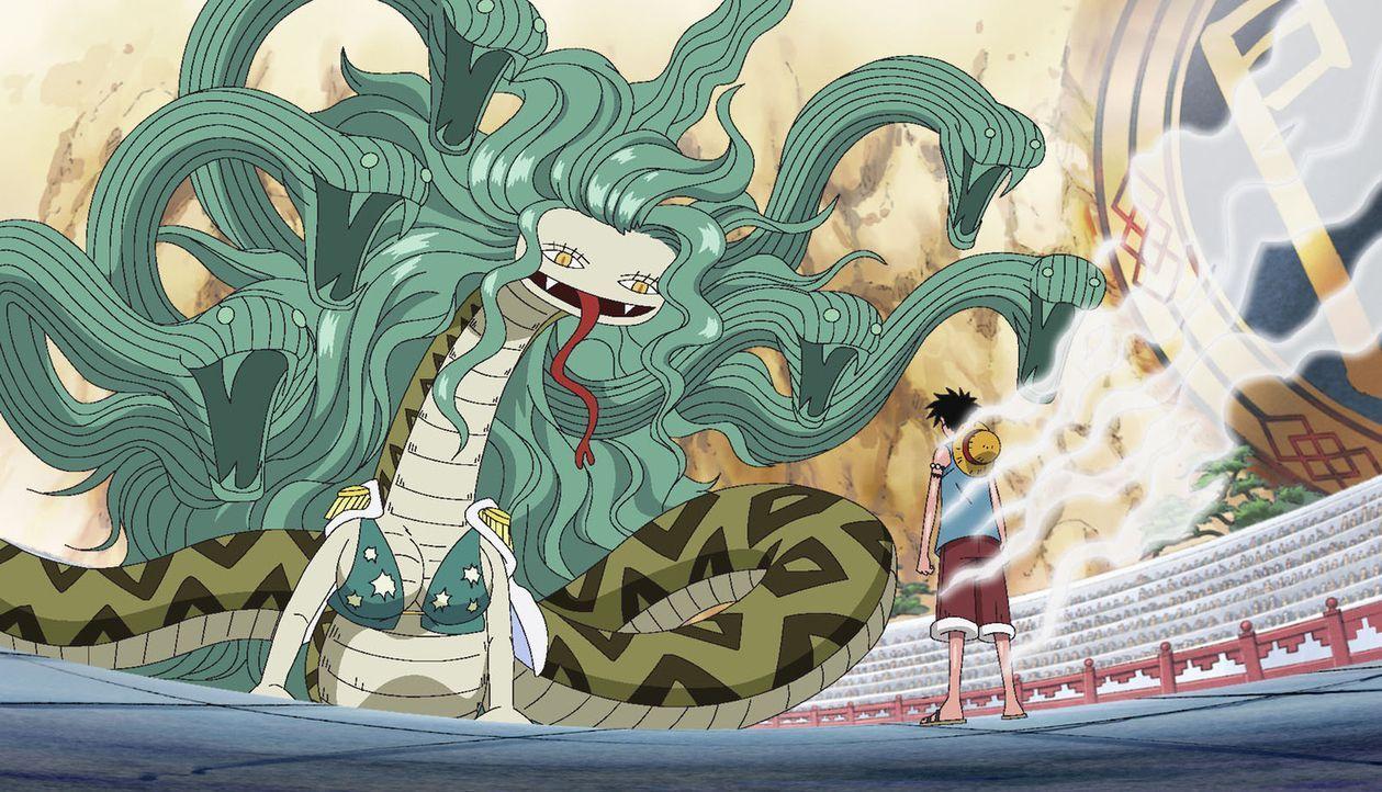 Ruffy muss alle Kräfte aufbieten, um Sonia und Mari in der Arena zu besiegen... - Bildquelle: Eiichiro Oda/Shueisha, Toei Animation