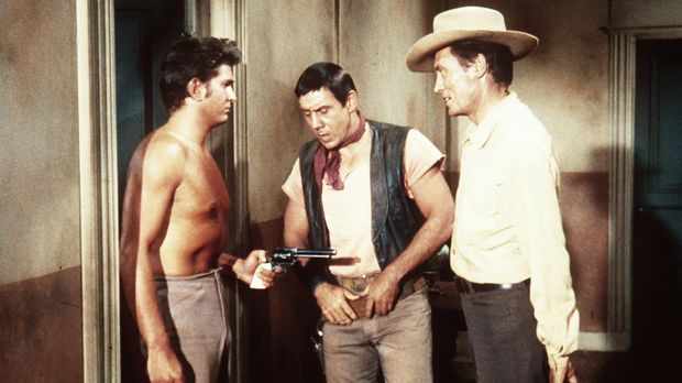 Little Joe Cartwright (Michael Landon, l.) traut den Revolverhelden Jakes (Ro...