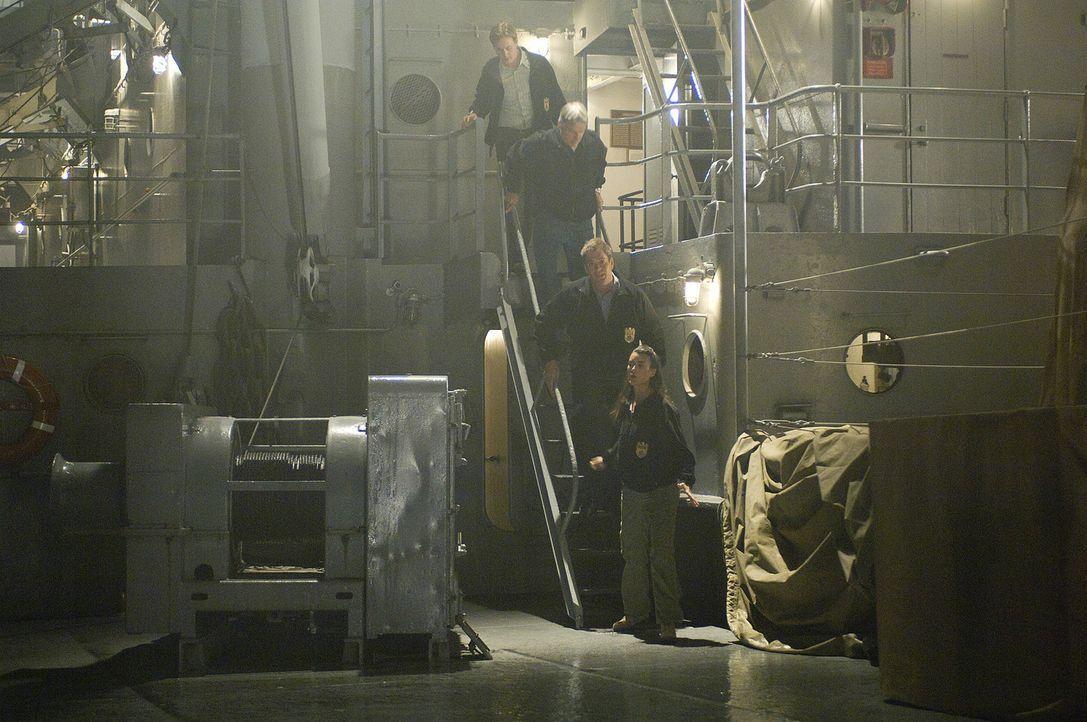 Bei ihren Ermittlungen stoßen Gibbs (Mark Harmon, 2.v.oben), McGee (Sean Murray, oben), Ziva (Cote de Pablo, unten) und Tony (Michael Weathely, 2.v... - Bildquelle: CBS Television