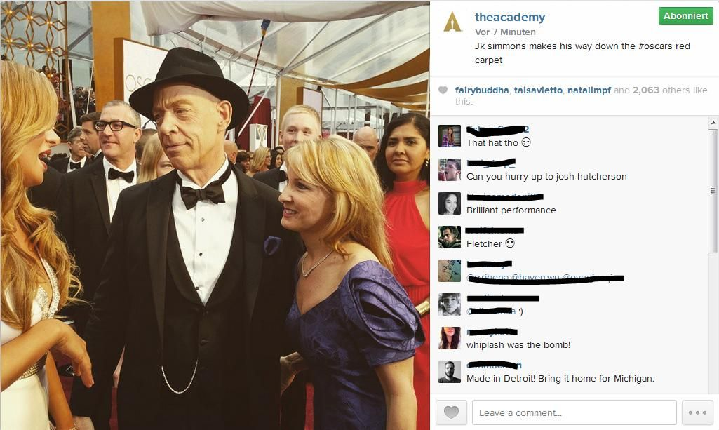 Instagram J.K. Simmons - Bildquelle: https://instagram.com/theacademy/