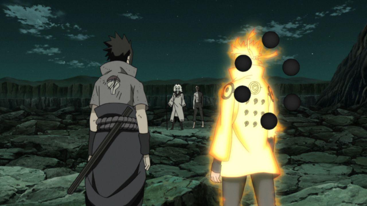 (v.l.n.r.) Sasuke; Madara; Obito; Naruto - Bildquelle: 2002 MASASHI KISHIMOTO / 2007 SHIPPUDEN