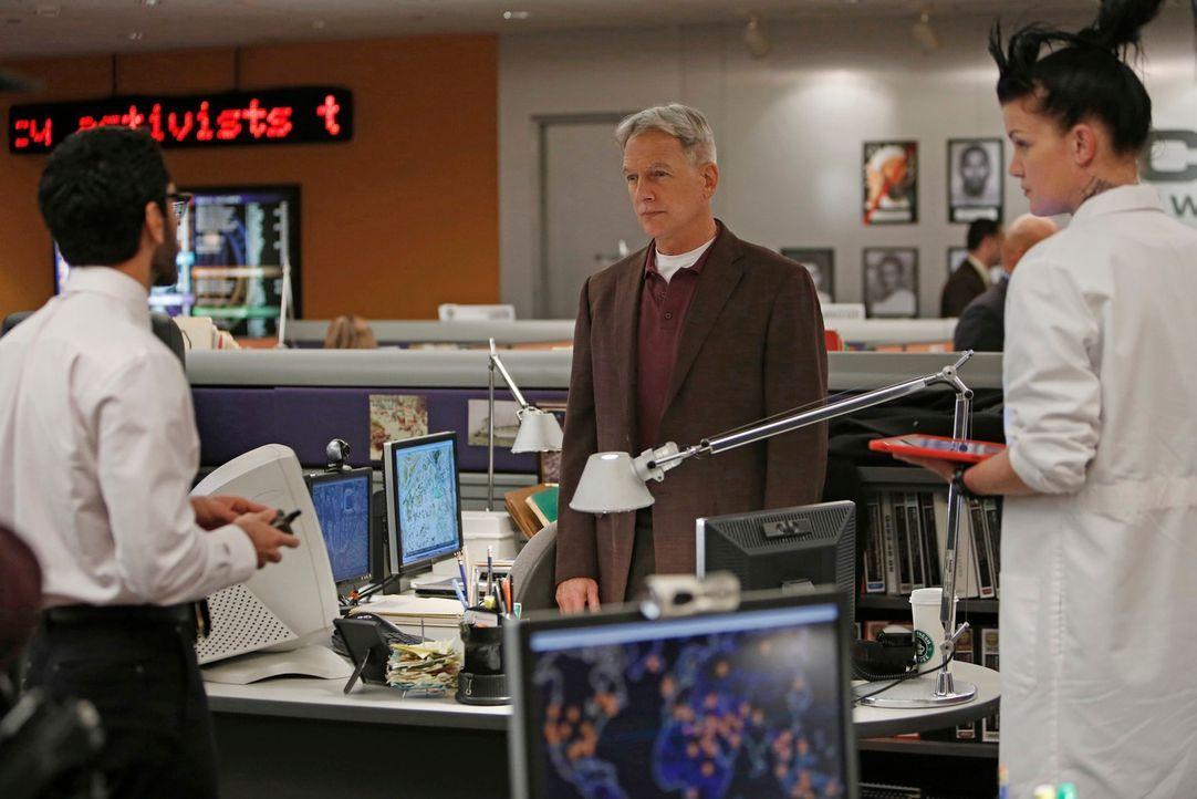 Versuchen, einen neuen Fall zu lösen: Kevin (Ethan Rains, l.), Gibbs (Mark Harmon, M.) und Abby (Pauley Perrette, r.) ... - Bildquelle: CBS Television