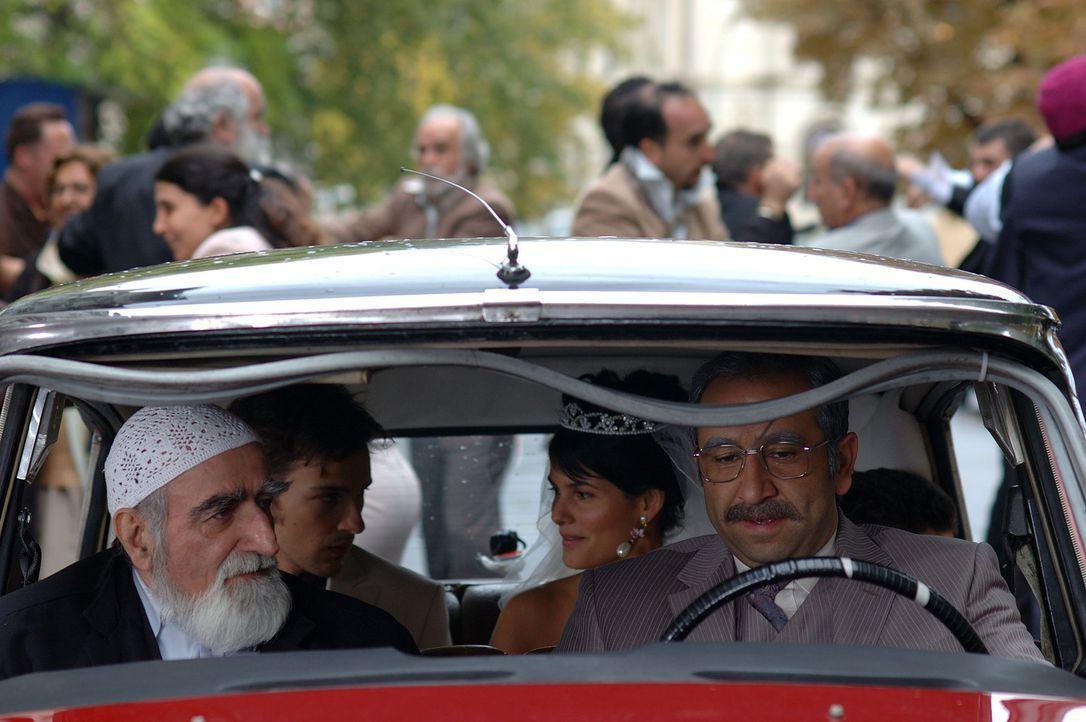 Happy End: Götz (Florian David Fitz, hinten l.), Aylin (Mandala Tayde, hinten r.) und Papa Süleyman (Hilmi Sözer, r.) ... - Bildquelle: Dirk Plamböck ProSieben