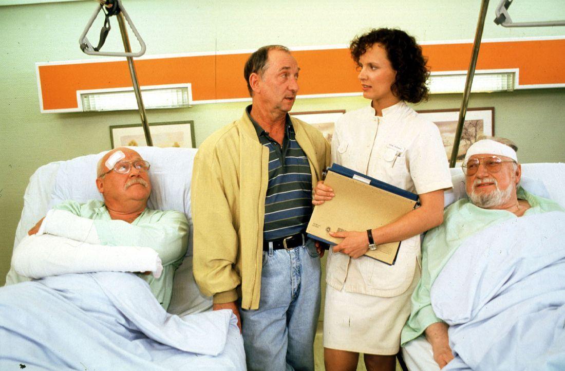 Die Brüder Bertram (Hans Teuscher, l.) und Georg Wartenberg (Walter Tschernich, r.) schweigen sich beharrlich über die Ursache ihrer Verletzungen au... - Bildquelle: Noreen Flynn Sat.1