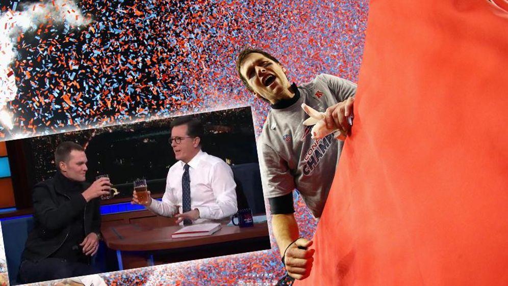 Bei Tom Brady kann TV-Showmaster Stephen Colbert nicht mithalten. - Bildquelle: Getty - Twitter/@colbertlateshow