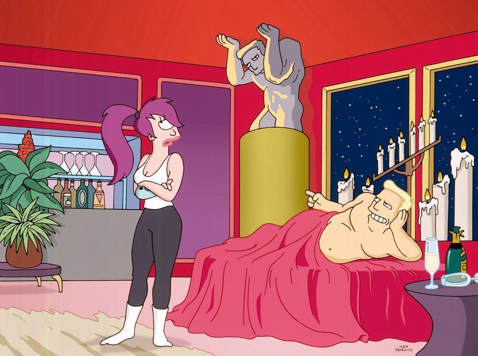 Leela (l.), Fry und Bender bekommen die Order, Tiere von einem Planeten zu evakuieren - der Planet droht zu implodieren. Ratlos bitten sie Brannigan... - Bildquelle: und TM Twenthieth Century Fox Film Corporation - Alle Rechte vorbehalten