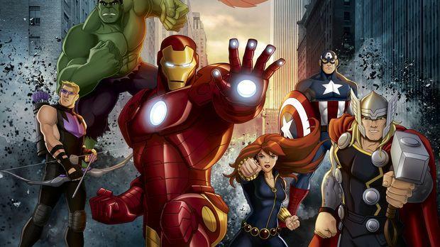 (2. Staffel) - Marvel's Avengers Assemble: Hawkeye (l.), Hulk (2.v.l.), Iron...