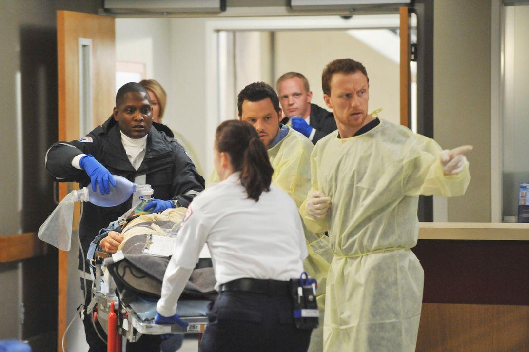 Ein neuer Notfall wird ins Seattle Grace eingeliefert. Alex (Justin Chambers, 3.v.r.) und Hunt (Kevin McKidd, r.) kümmern sich um ihn ... - Bildquelle: Touchstone Television