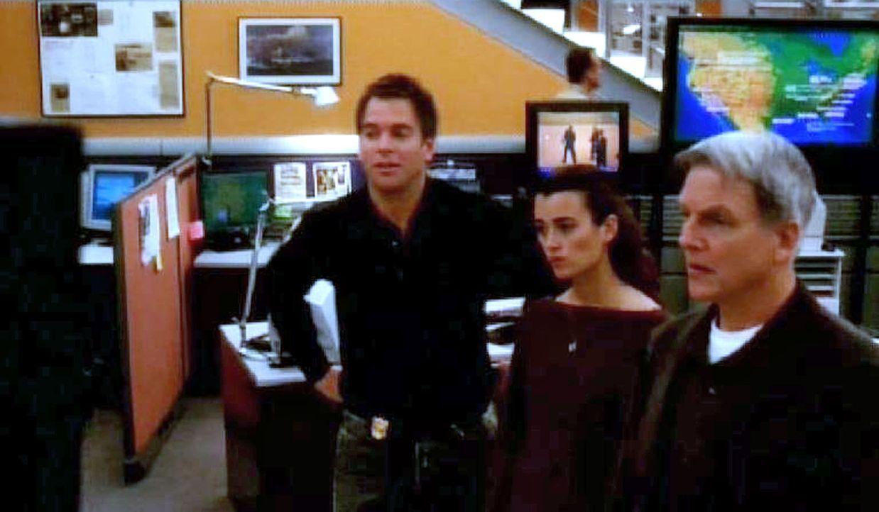 Anthony (Michael Weatherly, l.), Ziva (Cote de Pablo, M.) und Gibbs (Mark Harmon, r.) erforschen die Identität des Ermordeten ... - Bildquelle: CBS Television