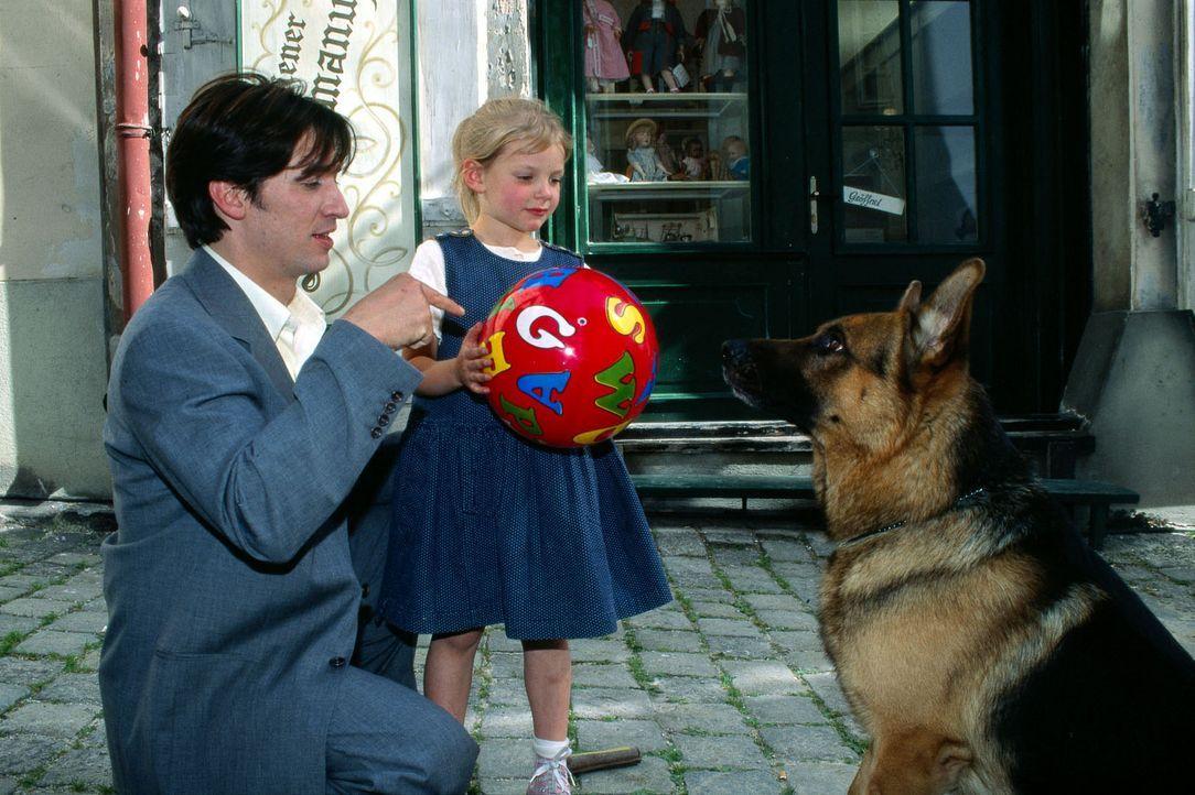 Rex und Kommissar Moser (Tobias Moretti, l.) müssen die kleine Angelika (Paula Polak, M.) beschützen, denn sie war Augenzeugin bei einem versuchte... - Bildquelle: Sat.1