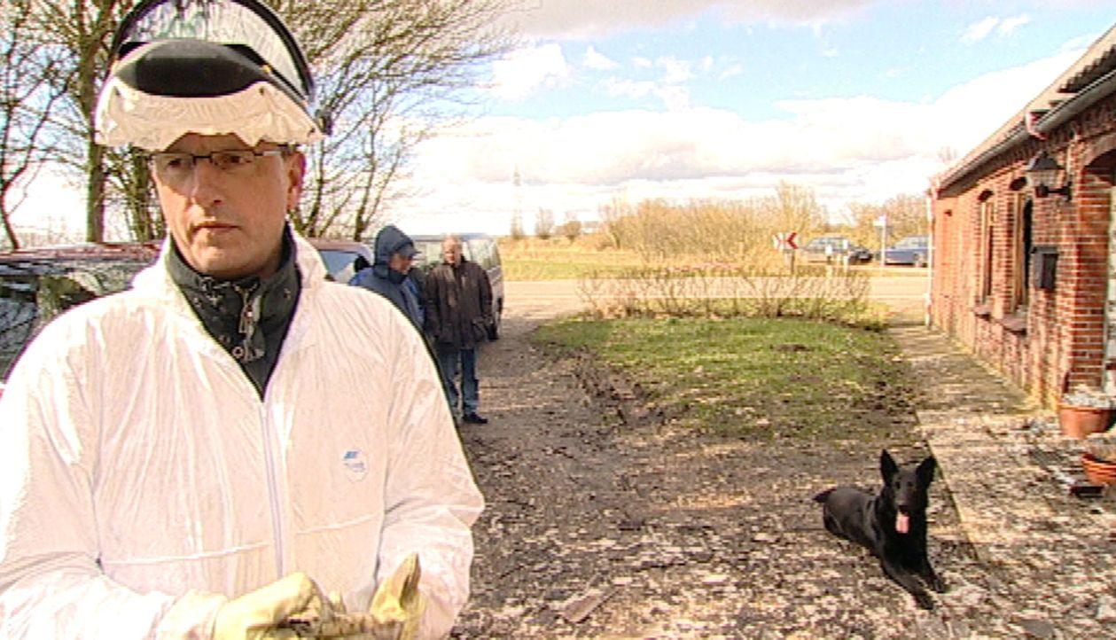 Polizeihundeführer Ralph Puls (l.) und sein Spürhund Aron (r.) untersuchen die Brandursache in der Ruine eines Bauernhofes. - Bildquelle: SAT.1