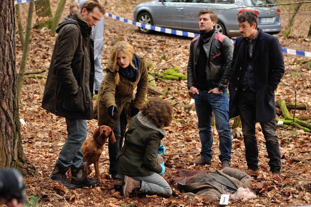 Als Gustav Sobek (Tillbert Strahl, l.) im Wald einen toten Obdachlosen entdeckt, beginnt für Josephine (Diana Amft, 2.v.l.), Fritz (Matthi Faust, 2.... - Bildquelle: Hardy Spitz SAT.1