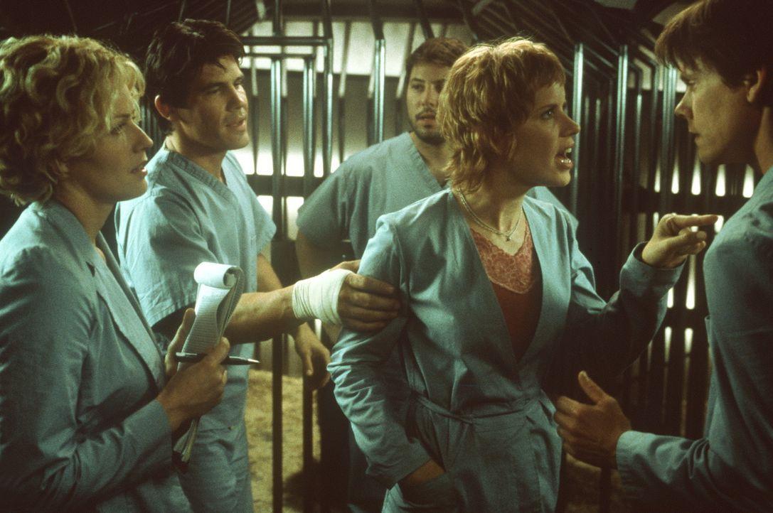 Obwohl seine Kollegen keineswegs von dem geplanten Selbstversuch Sebastian Caines (Kevin Bacon, r.) angetan sind, setzen (v.l.n.r.) Linda (Elisabeth... - Bildquelle: Columbia Pictures