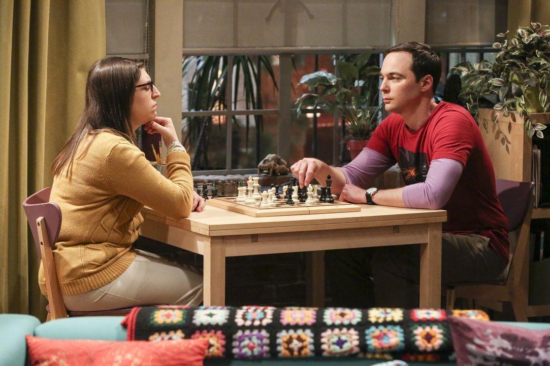 Rücksicht und Bescheidenheit sind nicht gerade Sheldons (Jim Parsons, r.) Tugenden, doch als Amy (Mayim Bialik, l.) ein Angebot bekommt, dass er sel... - Bildquelle: Warner Bros. Television