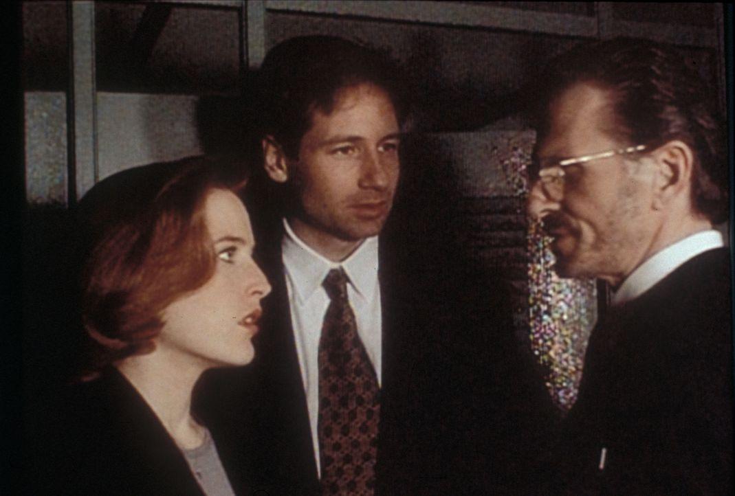 Scully (Gillian Anderson, l.) und Mulder (David Duchovny, M.) erfahren vom Nachtwächter des Bostoner Museums für Naturgeschichte, dass mehrere Forsc... - Bildquelle: TM +   2000 Twentieth Century Fox Film Corporation. All Rights Reserved.