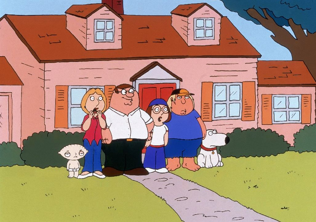 """(4. Staffel) - Die Griffins sind eine nach außen hin """"völlig normale"""" Familie: (v.l.n.r.) Stewie, Lois, Peter, Meg, Chris und Brian. - Bildquelle: TM +   2005 Twentieth Century Fox Film Corporation. All Rights Reserved."""