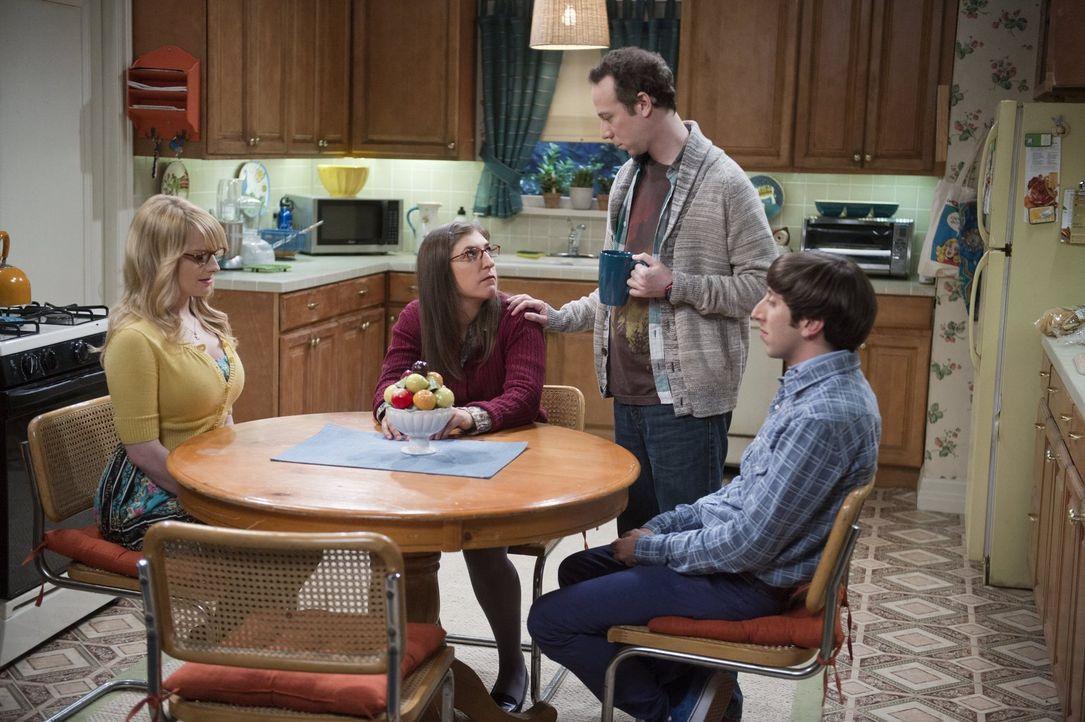 Jetzt da Amy (Mayim Bialik, 2.v.l.) frischgebackener Single ist, sieht Stuart (Kevin Sussman, 2.v.r.) seine Chance kommen und macht sich an Sheldons... - Bildquelle: Warner Brothers