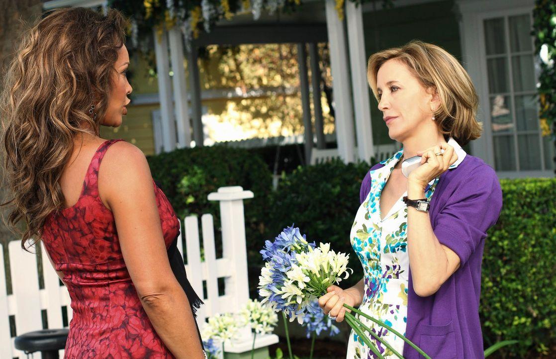 Während sich Gabrielle und Carlos schreckliche Geheimnisse verschweigen, bekommt Lynette (Felicity Huffman, r.) Besuch von ihrer ehemaligen Highscho... - Bildquelle: ABC Studios