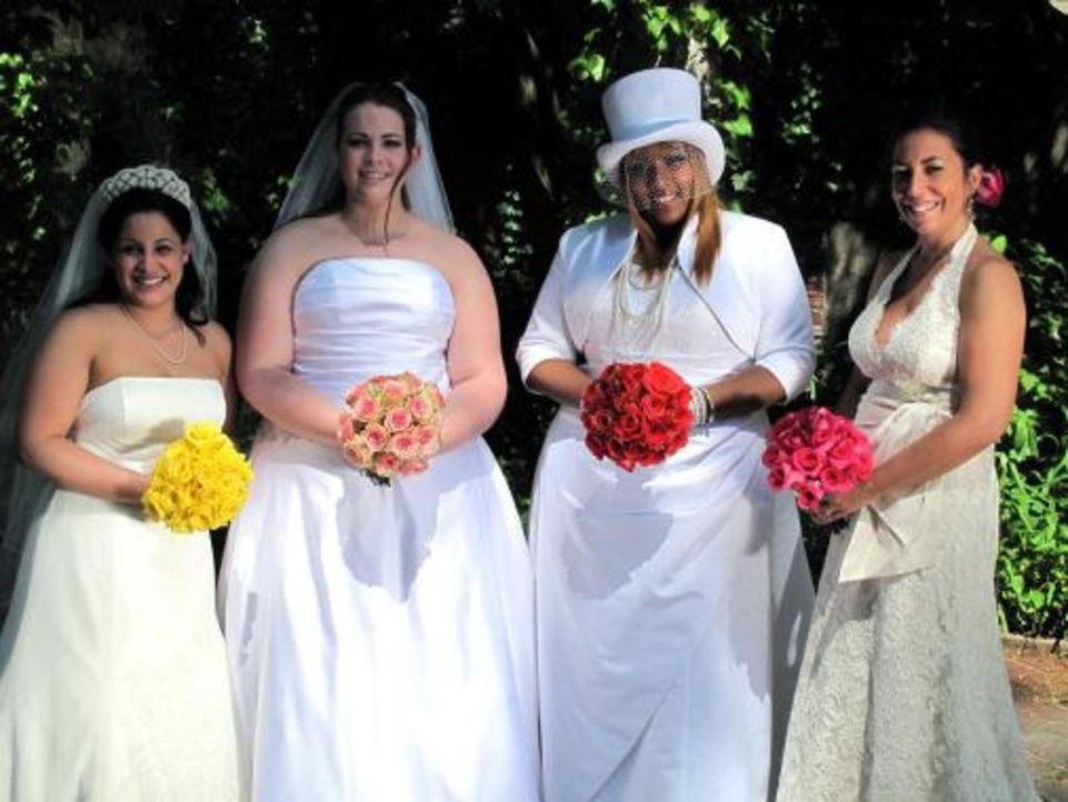 Vier Bräute treten an, im Wettkampf um das schönste Hochzeitsfest: Amanda (2.v.l.), Nora (r.), Jeanette (l.) und und Brooke (2.v.r.) - Bildquelle: 2009 Discovery Communications, LLC