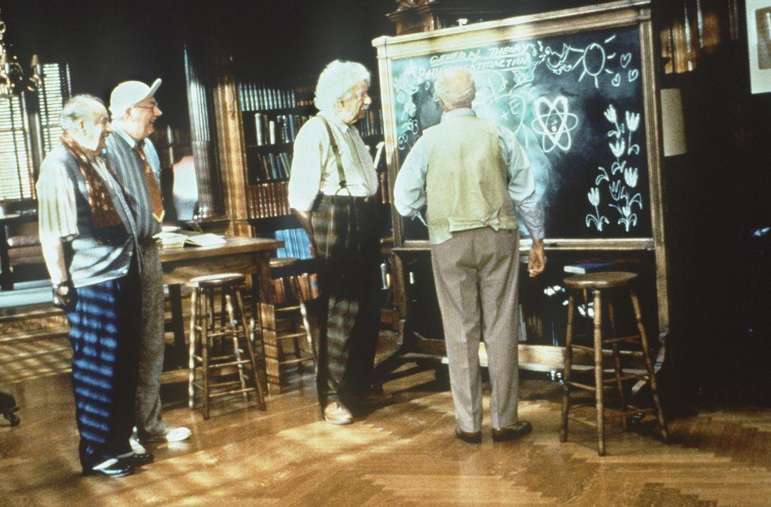Vier Mann und eine Schultafel: Gödel (Lou Jacobi, l.), Liebknecht (Joe Maher, 2.v.l.), Albert Einstein (Walter Matthau, 2.v.r.) und Podolsky (Gene... - Bildquelle: Paramount Pictures