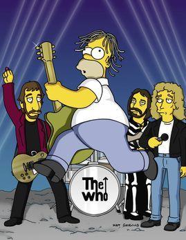 """Die Simpsons - Homer (M.) bei einem Auftritt mit der Rockgruppe """"The Who..."""