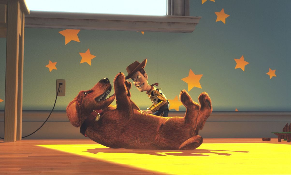 Haben viel Spaß miteinander: Whoody, r. und Hund ... - Bildquelle: Buena Vista International Television
