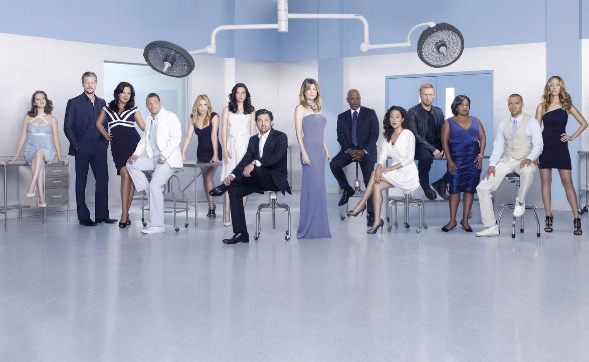 (7. Staffel) - Grey's Anatomy: (v.l.n.r.) April (Sarah Drew), Mark (Eric Dane), Callie (Sara Ramirez), Alex (Justin Chambers), Arizona (Jessica Caps... - Bildquelle: ABC Studios