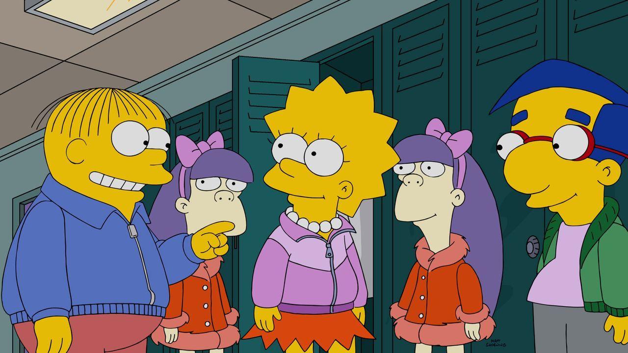 Erleben einen ganz besonderen Tag im Aqua-Park: Lisa (M.), Milhouse (r.), Ralph (l.), Sherri (2.v.l.) und Terri (2.v.r.) ... - Bildquelle: 2015 Fox and its related entities.  All rights reserved.