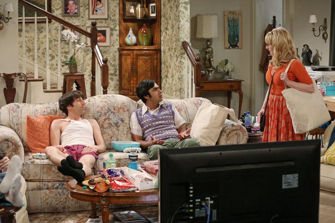 Etwas muss im Haus geschehen: Bernadette (Melissa Rauch, r.) stellt Raj (Kunal Nayyar, M.) und Howard (Simon Helberg, l.) zur Rede ... - Bildquelle: Warner Bros. Television
