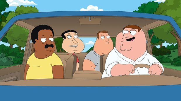 Family Guy - Peter (r.), Cleveland (l.), Joe (2.v.r.) und Quagmire (2.v.l.) b...