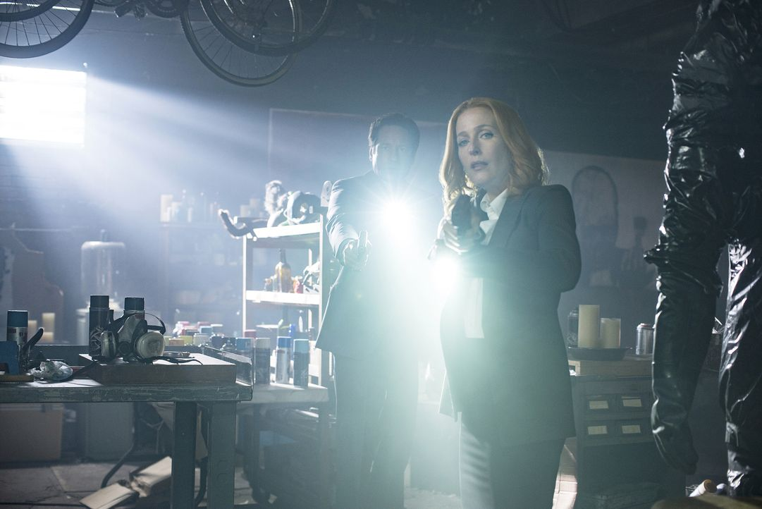 Als Mulder (David Duchovny, l.) gegenüber des Tatorts ein Gemälde entdeckt, das eine große Figur zeigt, macht er sich zusammen mit Scully (Gillian A... - Bildquelle: Ed Araquel 2016 Fox and its related entities.  All rights reserved.