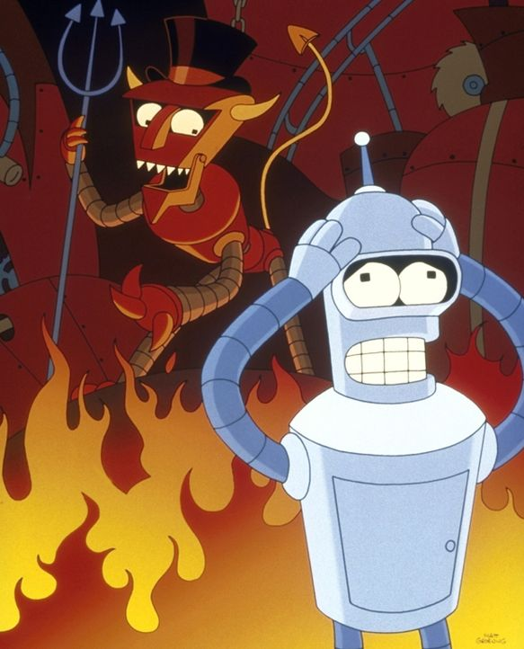 Prompt landet Bender (r.) in der Hölle, und Fry und Leela müssen ihn befreien ... - Bildquelle: und TM Twenthieth Century Fox Film Corporation - Alle Rechte vorbehalten