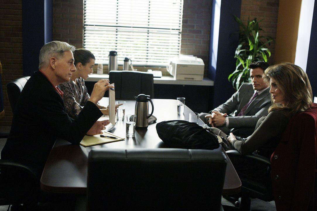 Nachdem der 26-jährige Petty Officer Greg Collins tot aufgefunden wurde, beginnen für Gibbs (Mark Harmon, l.) und Ziva (Cote de Pablo, 2.v.l.) die... - Bildquelle: CBS Television