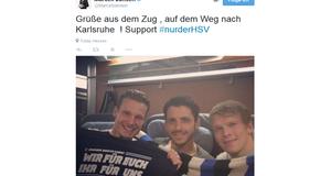 Marcell Jansen, Gojko Kacar und Artjoms Rudnevs auf dem Weg nach Karlsruhe