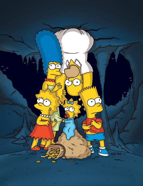 Bei einem Ausflug in eine Höhle brechen Marge (2.v.l.), Homer (2.v.r.), Bart (r.), Lisa (l.) und Maggie (M.) ein.  Während des Wartens, erzählt L... - Bildquelle: und TM Twentieth Century Fox Film Corporation - Alle Rechte vorbehalten