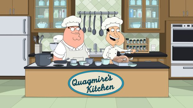 Als Peter (l.), Joe und Cleveland erfahren, dass Quagmires (r.) ein guter Koc...