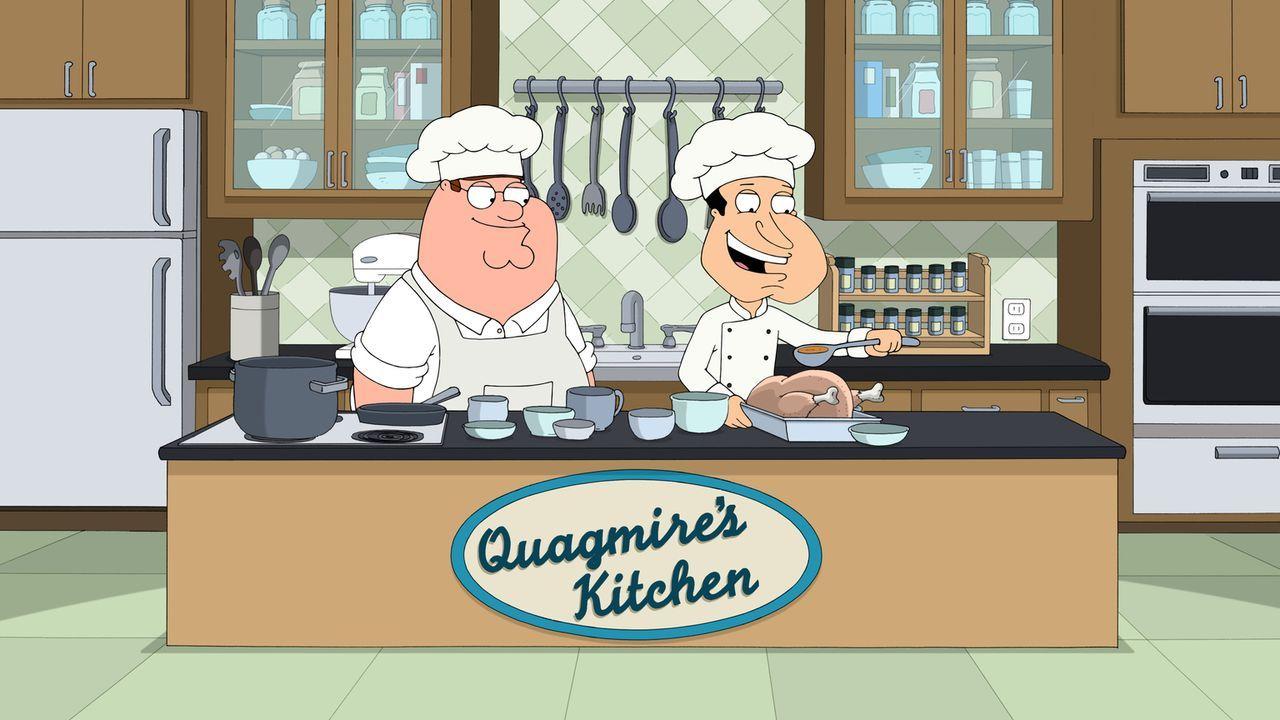 Als Peter (l.), Joe und Cleveland erfahren, dass Quagmires (r.) ein guter Koch ist, überreden sie ihn, sich auf eine Stelle als Fernsehkoch zu bewer... - Bildquelle: 2015-2016 Fox and its related entities. All rights reserved.