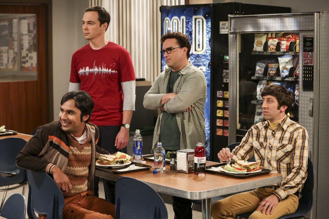 Während Sheldon (Jim Parsons, 2.v.l.), Leonard (Johnny Galecki, 2.v.r.) und Howard (Simon Helberg, r.) in ihren Beziehungen mit Höhen und Tiefen zu... - Bildquelle: Warner Bros. Television