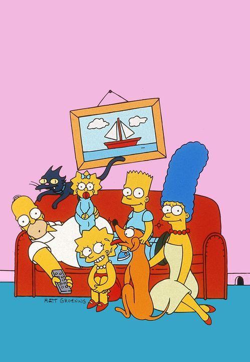 (14. & 15. Staffel) - Gemeinsam ist die Familie Simpsons unschlagbar: (v.l.n.r.) Homer, Kater Schneeball, Maggie, Lisa, Bart, Hund Knecht Ruprecht u... - Bildquelle: und TM Twentieth Century Fox Film Corporation - Alle Rechte vorbehalten