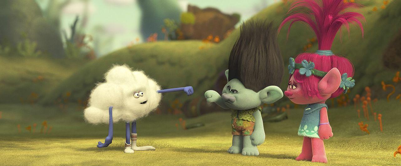 (v.l.n.r.) Cloud Guy; Branch; Poppy - Bildquelle: 2016 DreamWorks Animation, L.L.C.  All rights reserved.