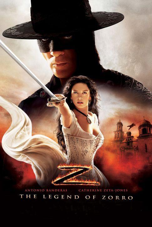 Die Legende des Zorro mit Antonio Banderas, hinten und Catherine Zeta-Jones, vorne - Bildquelle: Sony Pictures Television International. All Rights Reserved.