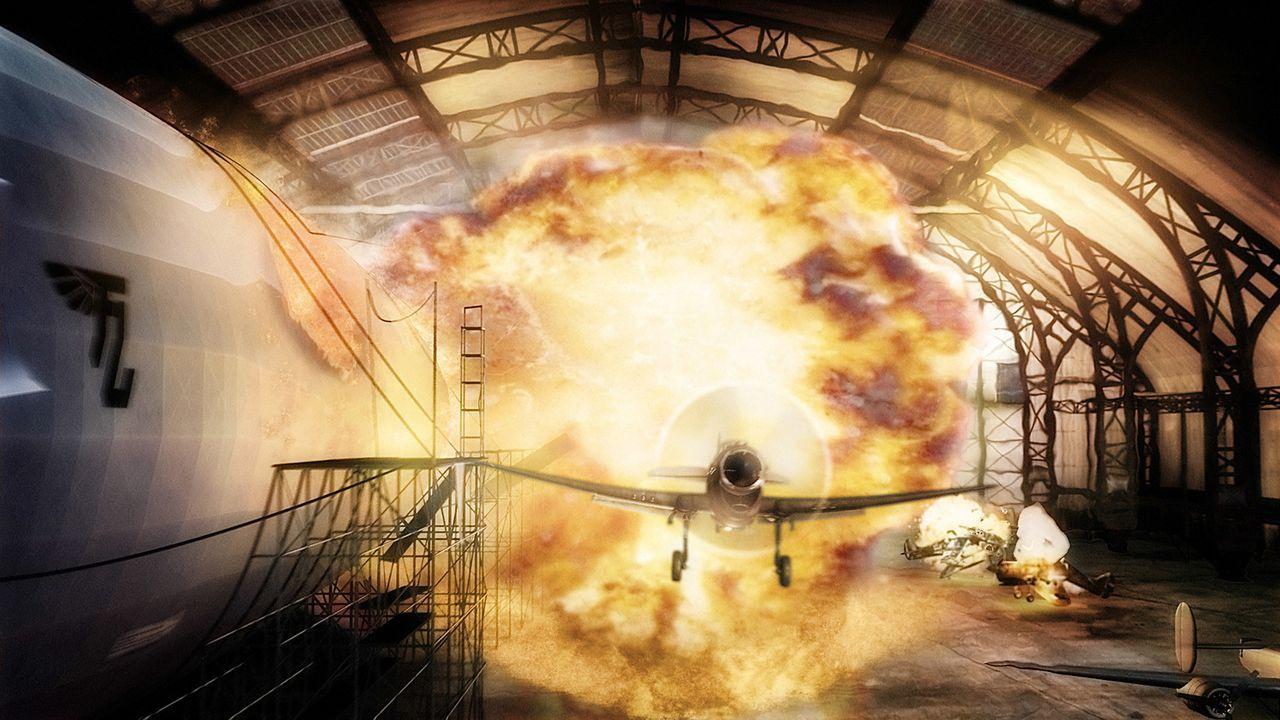 Gelingt es Polly und Sky Captain Joe Sullivan, in Totenkopfs Festung einzudringen und ihn zu vernichten? - Bildquelle: TM & Copyright   Brooklyn Films II And Filmauro S.R.L.